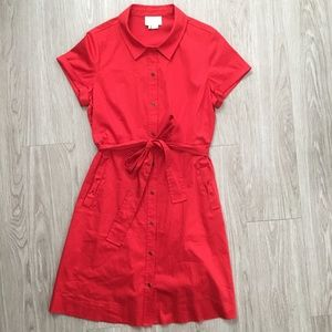 Kate Spade Red Shirt Dress Button Front Tie Waist